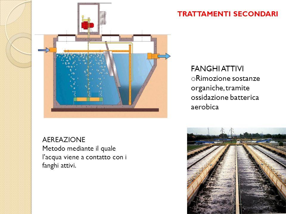 FANGHI ATTIVI o Rimozione sostanze organiche, tramite ossidazione batterica aerobica AEREAZIONE Metodo mediante il quale lacqua viene a contatto con i