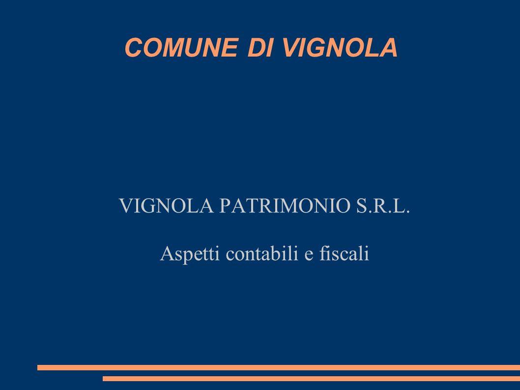 COMUNE DI VIGNOLA VIGNOLA PATRIMONIO S.R.L. Aspetti contabili e fiscali