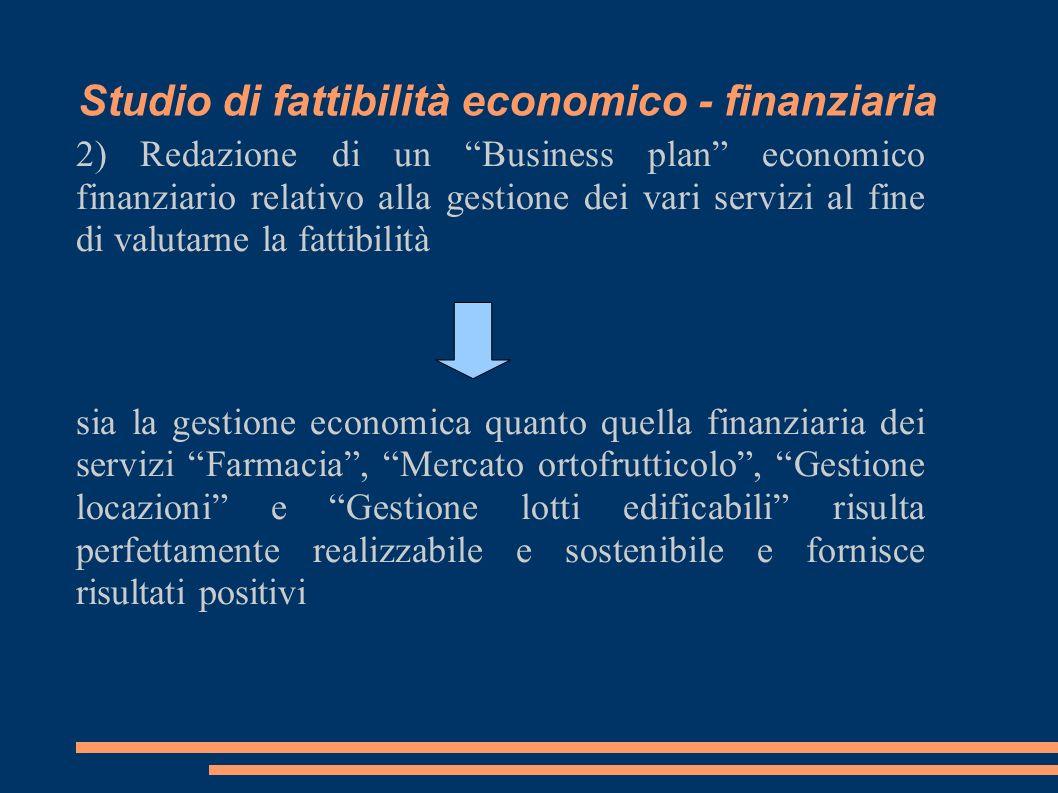 Studio di fattibilità economico - finanziaria 2) Redazione di un Business plan economico finanziario relativo alla gestione dei vari servizi al fine d