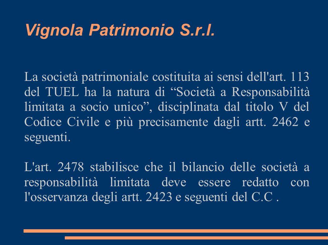 Vignola Patrimonio S.r.l. La società patrimoniale costituita ai sensi dell'art. 113 del TUEL ha la natura di Società a Responsabilità limitata a socio