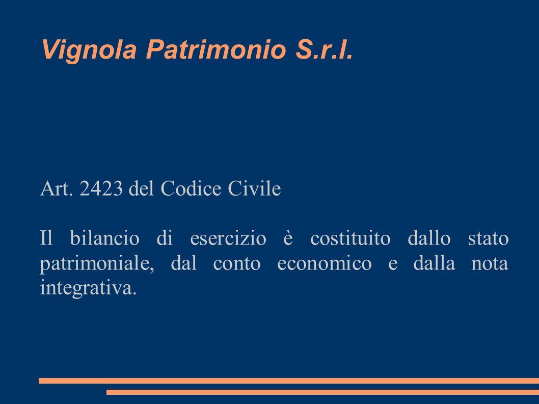 Vignola Patrimonio S.r.l. Art. 2423 del Codice Civile Il bilancio di esercizio è costituito dallo stato patrimoniale, dal conto economico e dalla nota