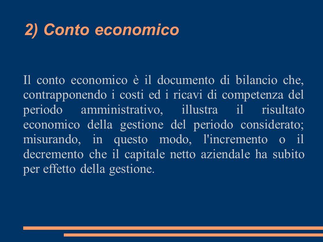 2) Conto economico Il conto economico è il documento di bilancio che, contrapponendo i costi ed i ricavi di competenza del periodo amministrativo, ill