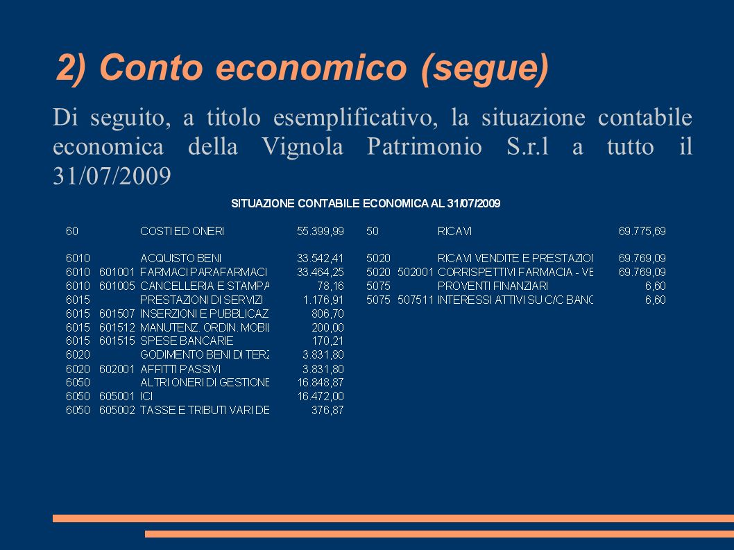 2) Conto economico (segue) Di seguito, a titolo esemplificativo, la situazione contabile economica della Vignola Patrimonio S.r.l a tutto il 31/07/2009