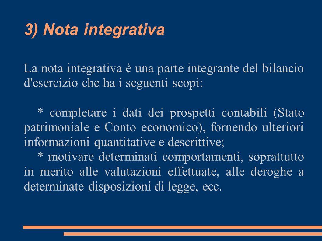 3) Nota integrativa La nota integrativa è una parte integrante del bilancio d'esercizio che ha i seguenti scopi: * completare i dati dei prospetti con
