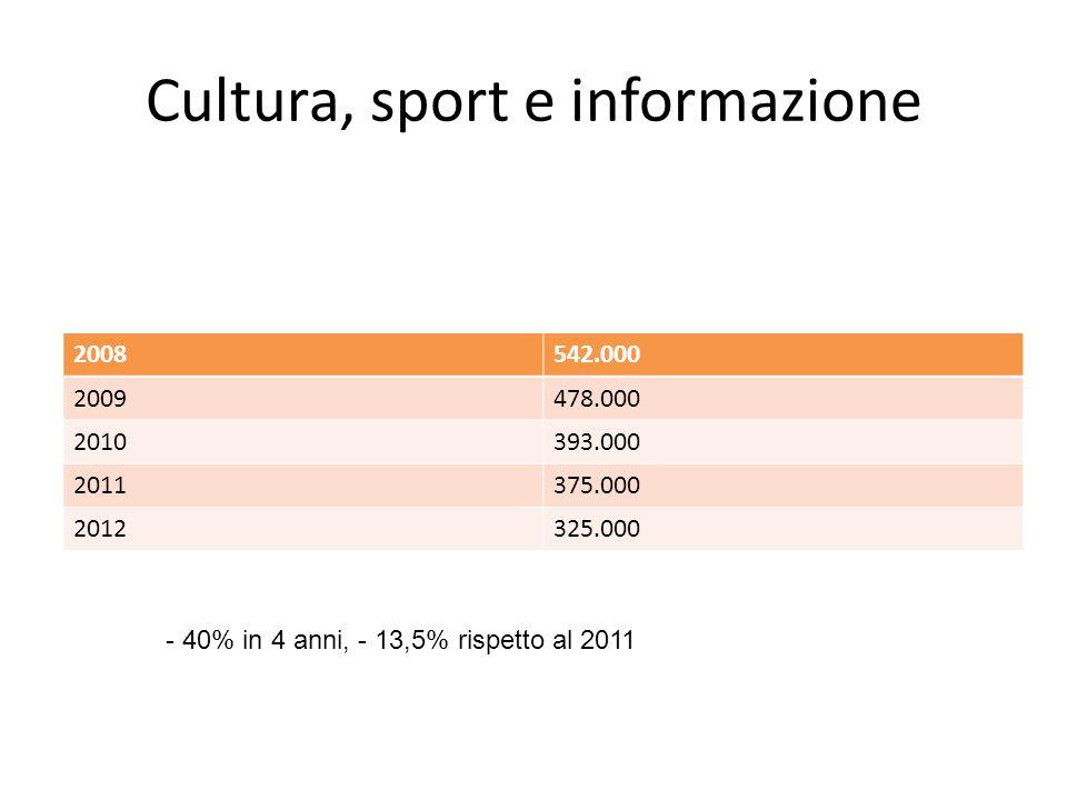 Cultura, sport e informazione 2008542.000 2009478.000 2010393.000 2011375.000 2012325.000 - 40% in 4 anni, - 13,5% rispetto al 2011