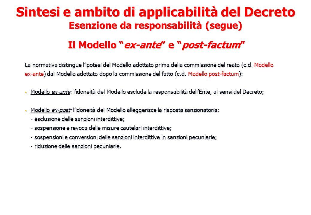 Il Modello ex-ante e post-factum La normativa distingue lipotesi del Modello adottato prima della commissione del reato (c.d. Modello ex-ante) dal Mod