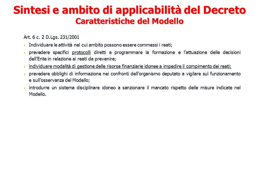 Art. 6 c. 2 D.Lgs. 231/2001 Individuare le attività nel cui ambito possono essere commessi i reati; Individuare le attività nel cui ambito possono ess