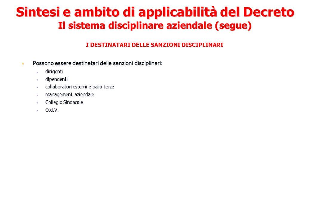 I DESTINATARI DELLE SANZIONI DISCIPLINARI Possono essere destinatari delle sanzioni disciplinari: Possono essere destinatari delle sanzioni disciplina
