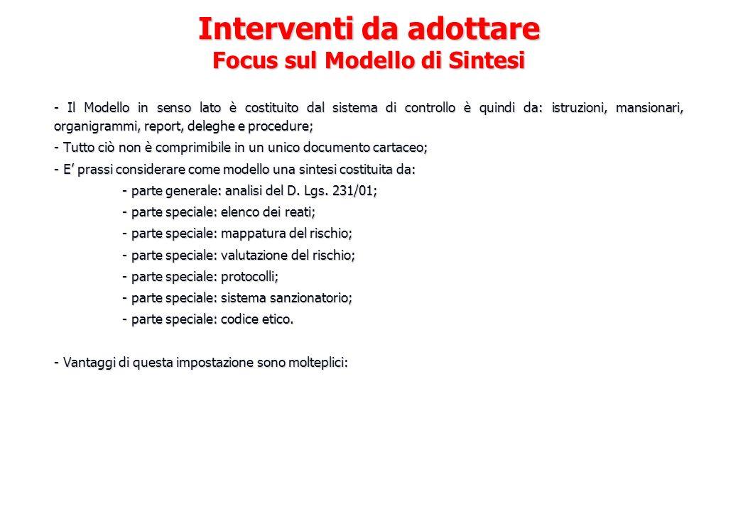 - Il Modello in senso lato è costituito dal sistema di controllo è quindi da: istruzioni, mansionari, organigrammi, report, deleghe e procedure; - Tut