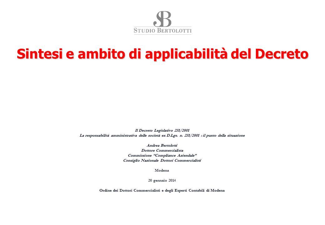 Il regime della responsabilità amministrativa degli Enti, D.