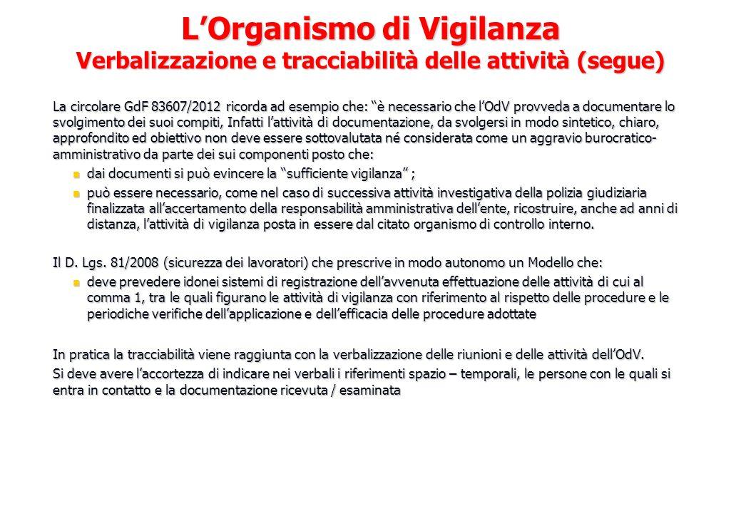 La circolare GdF 83607/2012 ricorda ad esempio che: è necessario che lOdV provveda a documentare lo svolgimento dei suoi compiti, Infatti lattività di