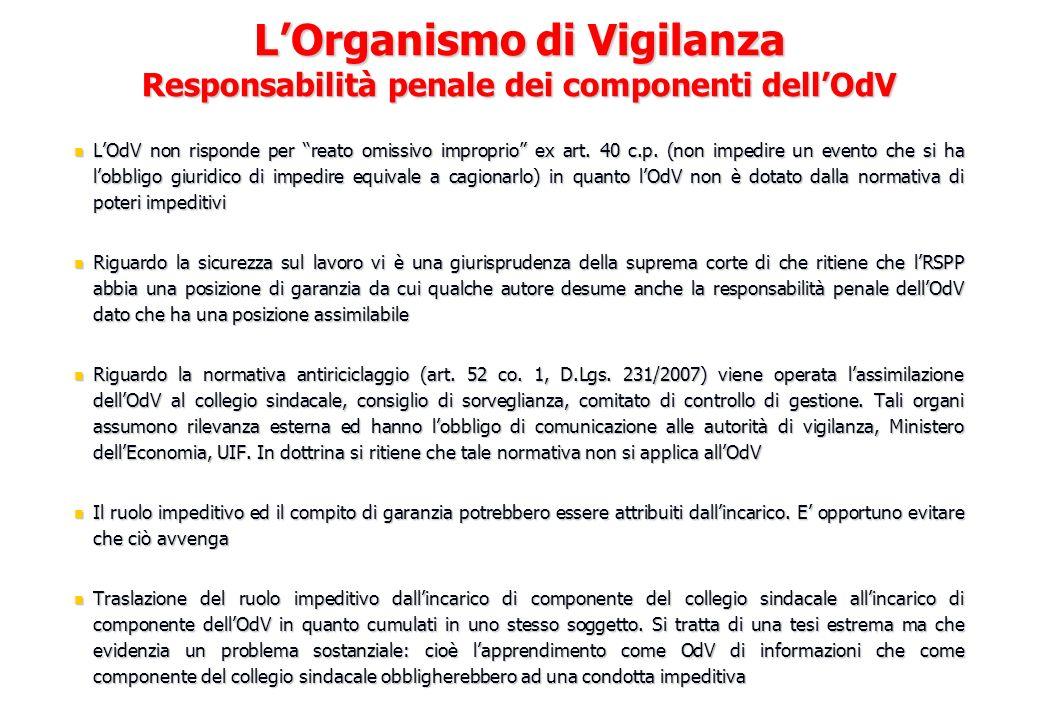 LOdV non risponde per reato omissivo improprio ex art. 40 c.p. (non impedire un evento che si ha lobbligo giuridico di impedire equivale a cagionarlo)