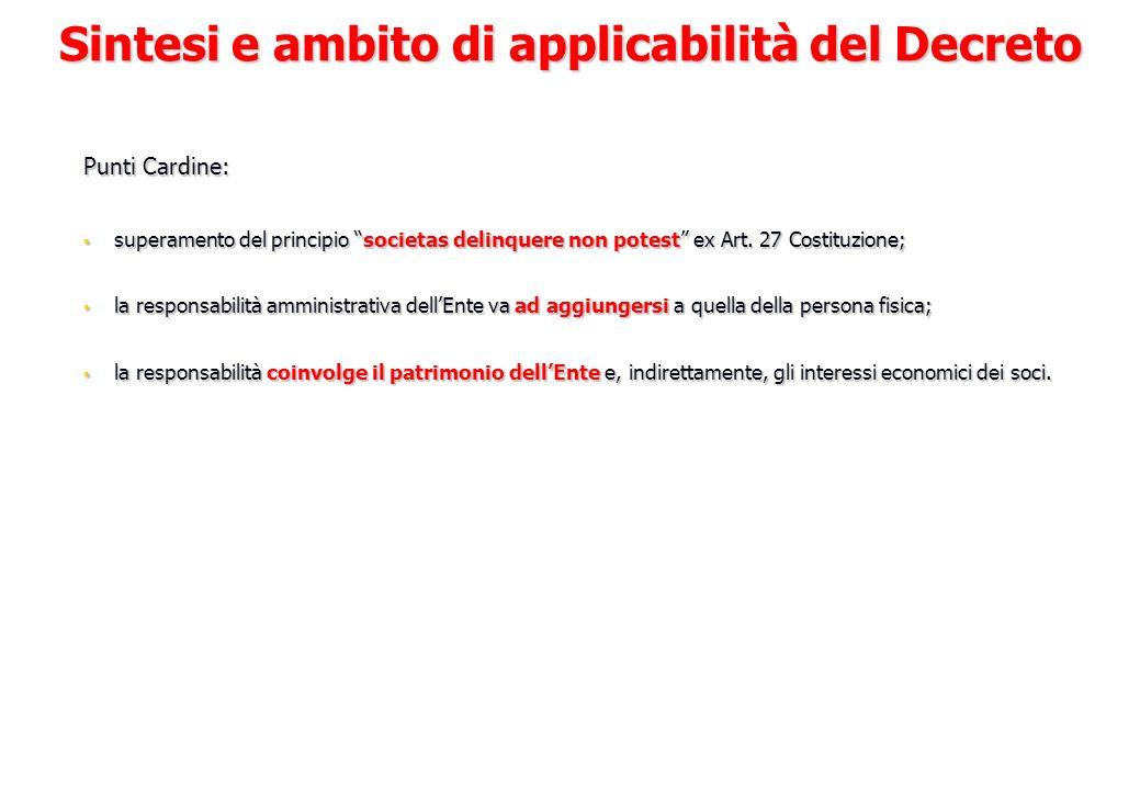 Il Decreto Legislativo 231/2001 La responsabilità amministrativa delle società ex D.Lgs.
