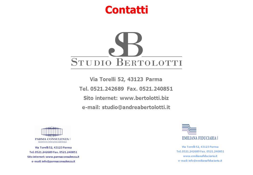 90Contatti Via Torelli 52, 43123 Parma Tel. 0521.242689 Fax. 0521.240851 Sito internet: www.parmaconsulenza.it e-mail: info@parmaconsulenza.it Via Tor