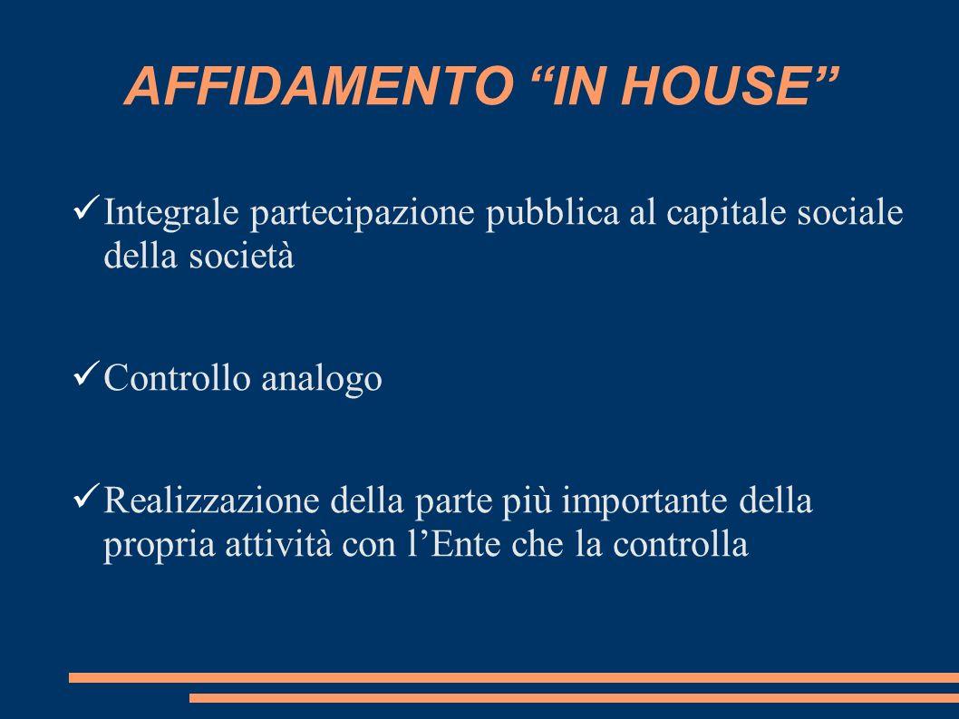 AFFIDAMENTO IN HOUSE Integrale partecipazione pubblica al capitale sociale della società Controllo analogo Realizzazione della parte più importante della propria attività con lEnte che la controlla