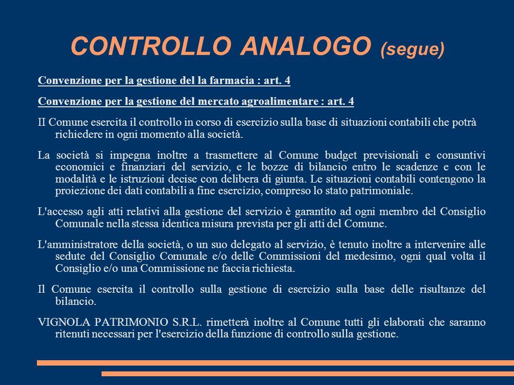 CONTROLLO ANALOGO (segue) Convenzione per la gestione del la farmacia : art.