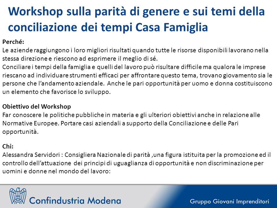 Workshop sulla parità di genere e sui temi della conciliazione dei tempi Casa Famiglia Perché: Le aziende raggiungono i loro migliori risultati quando
