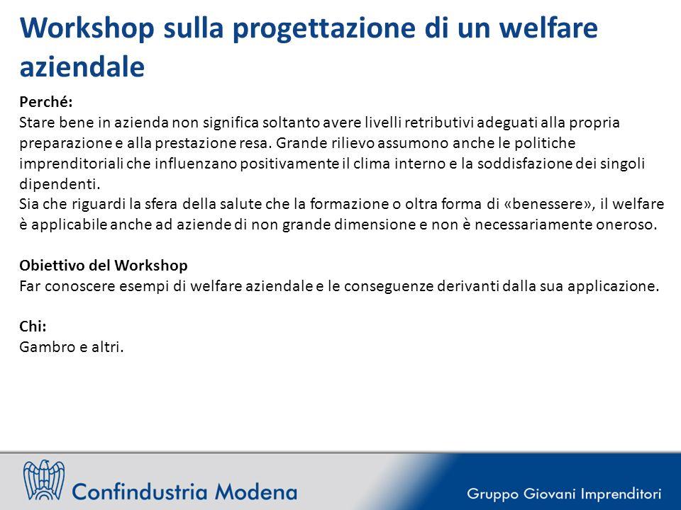 Workshop sulla progettazione di un welfare aziendale Perché: Stare bene in azienda non significa soltanto avere livelli retributivi adeguati alla propria preparazione e alla prestazione resa.