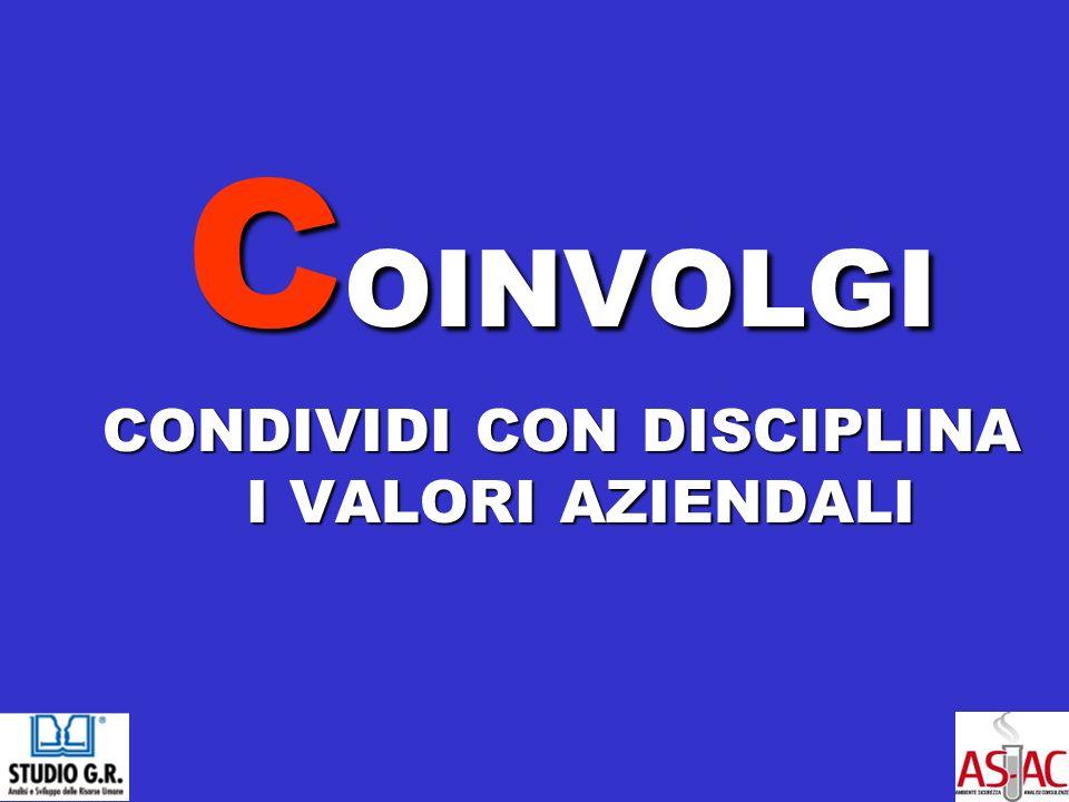 C OINVOLGI CONDIVIDI CON DISCIPLINA I VALORI AZIENDALI