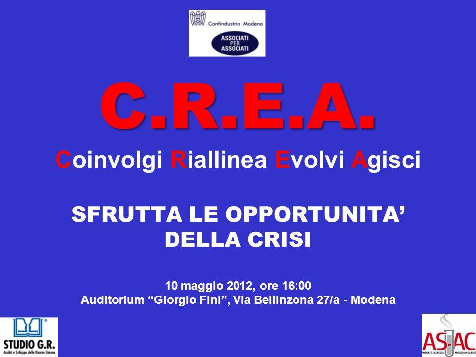C.R.E.A. C.R.E.A. Coinvolgi Riallinea Evolvi Agisci SFRUTTA LE OPPORTUNITA DELLA CRISI 10 maggio 2012, ore 16:00 Auditorium Giorgio Fini, Via Bellinzo