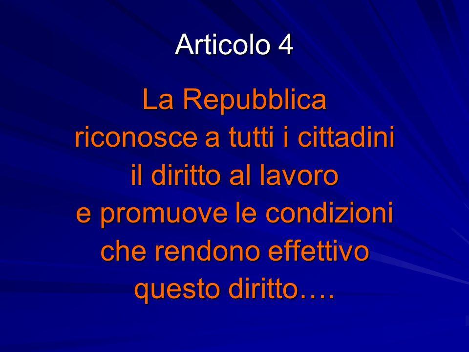 Articolo 4 La Repubblica riconosce a tutti i cittadini il diritto al lavoro e promuove le condizioni che rendono effettivo questo diritto….
