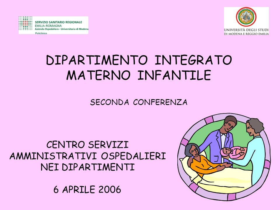 DIPARTIMENTO INTEGRATO MATERNO INFANTILE SECONDA CONFERENZA CENTRO SERVIZI AMMINISTRATIVI OSPEDALIERI NEI DIPARTIMENTI 6 APRILE 2006