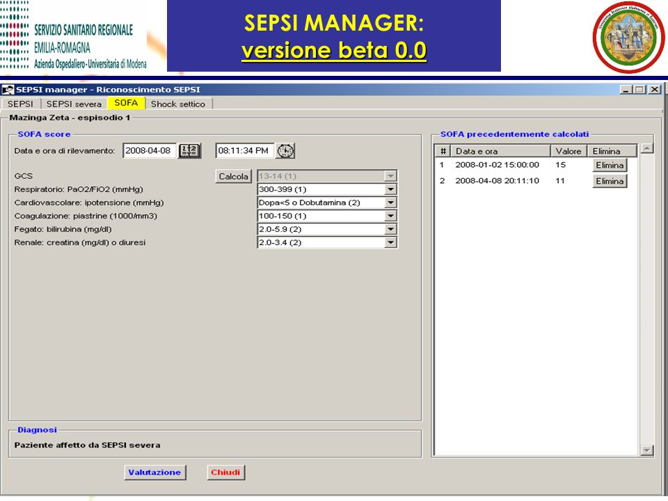versione beta 0.0 SEPSI MANAGER: versione beta 0.0
