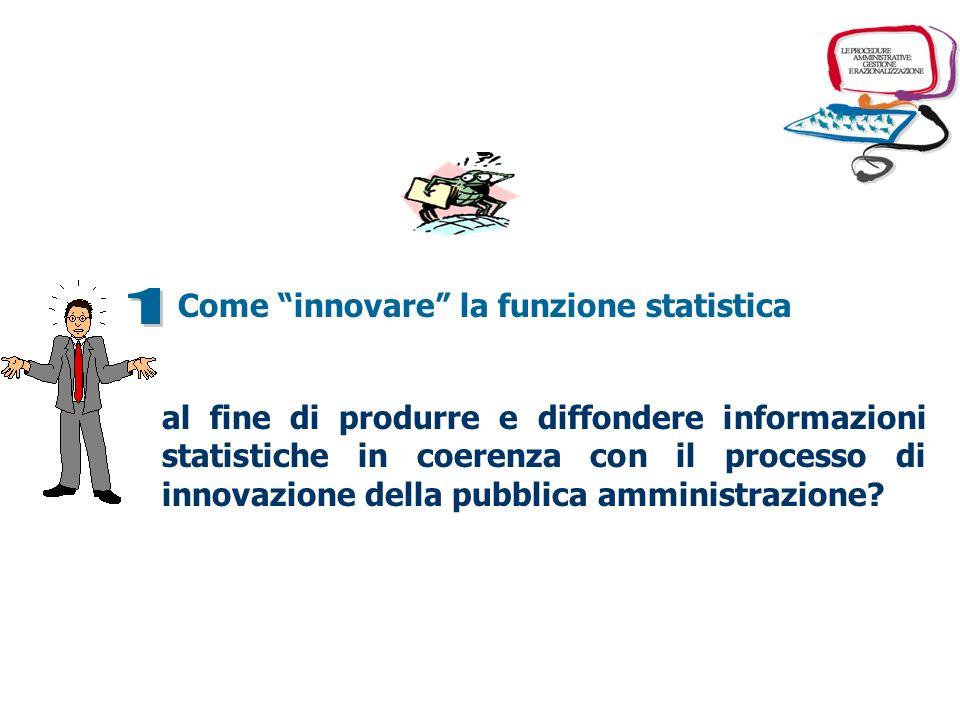 al fine di produrre e diffondere informazioni statistiche in coerenza con il processo di innovazione della pubblica amministrazione? Come innovare la