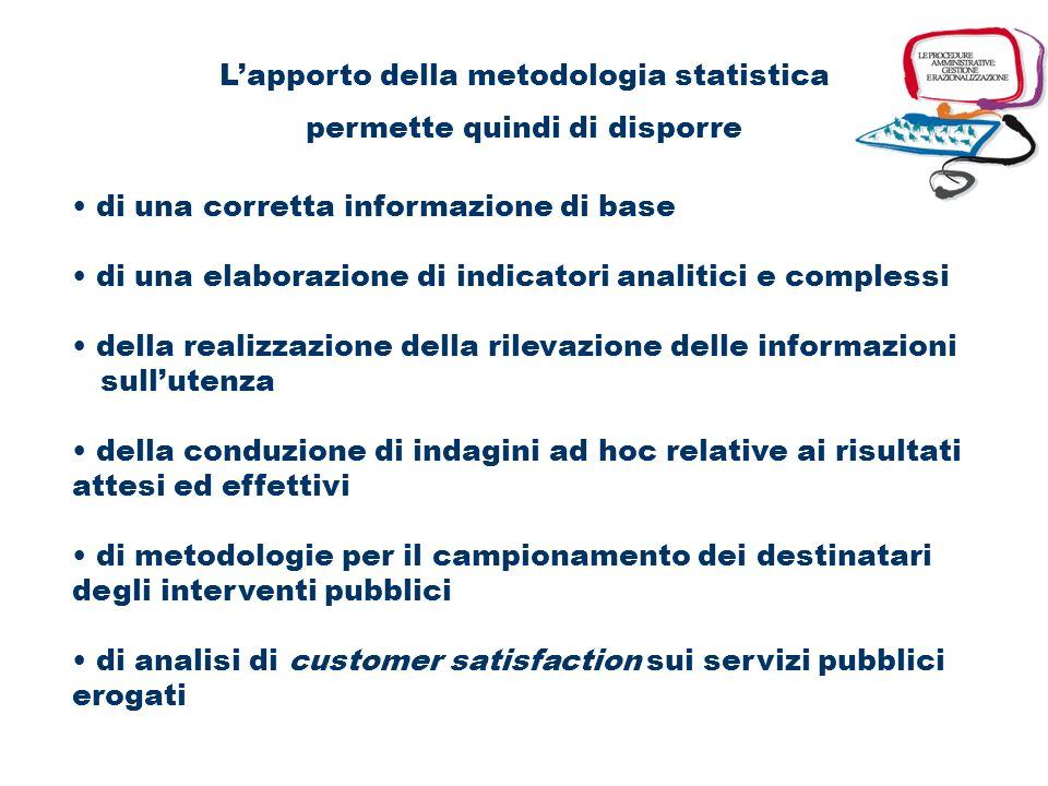 Il sistema informativo statistico procedurale contenuti esemplificativi indicatori della qualità erogata e della qualità percepita ai fini di valutare
