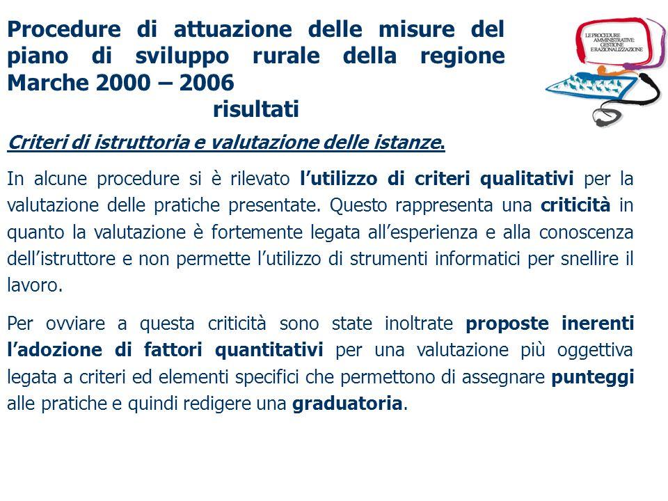 Procedure di attuazione delle misure del piano di sviluppo rurale della regione Marche 2000 – 2006 risultati Riduzione dei tempi di attraversamento della procedura.