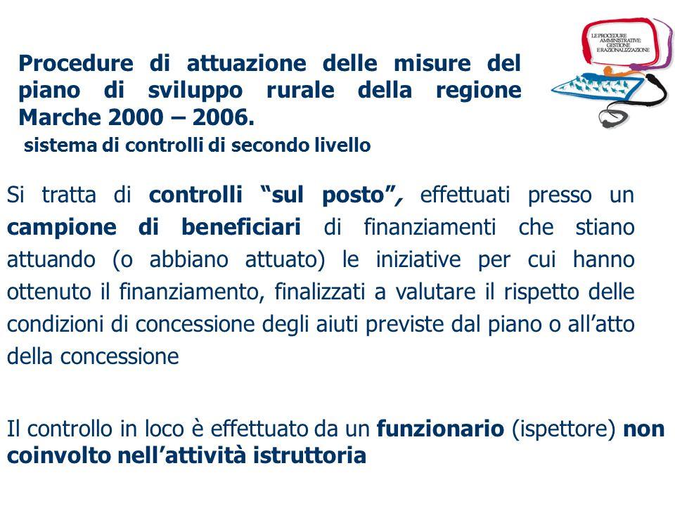 Procedure di attuazione delle misure del piano di sviluppo rurale della regione Marche 2000 – 2006. progettazione e redazione del Manuale delle proced