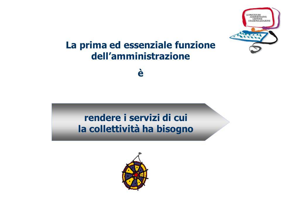 La prima ed essenziale funzione dellamministrazione è rendere i servizi di cui la collettività ha bisogno