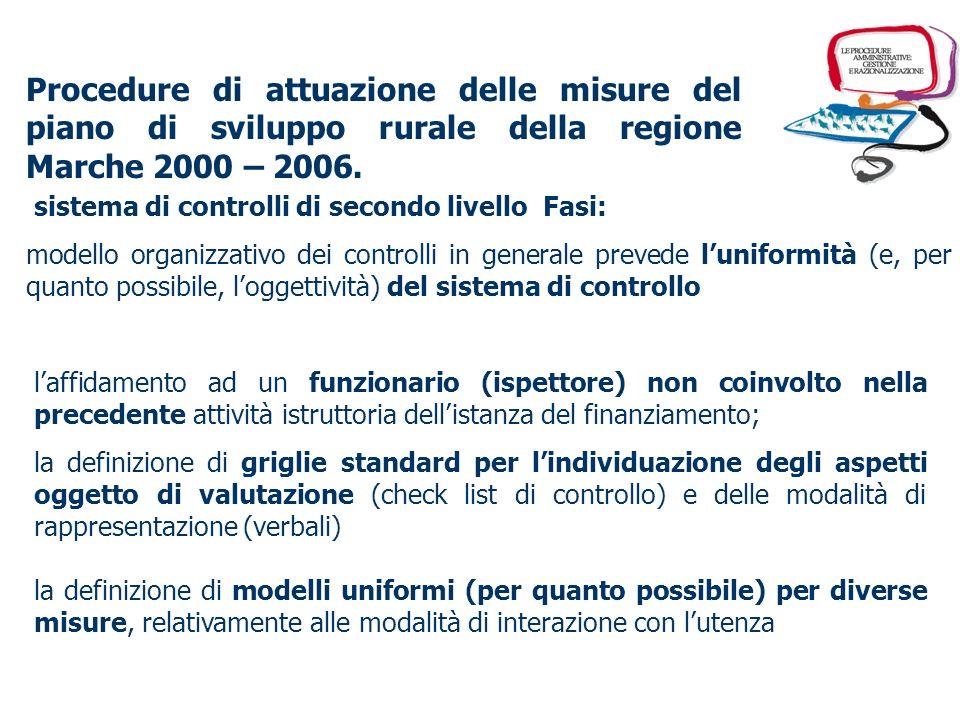 Procedure di attuazione delle misure del piano di sviluppo rurale della regione Marche 2000 – 2006. sistema di controlli di secondo livello Fasi: la c