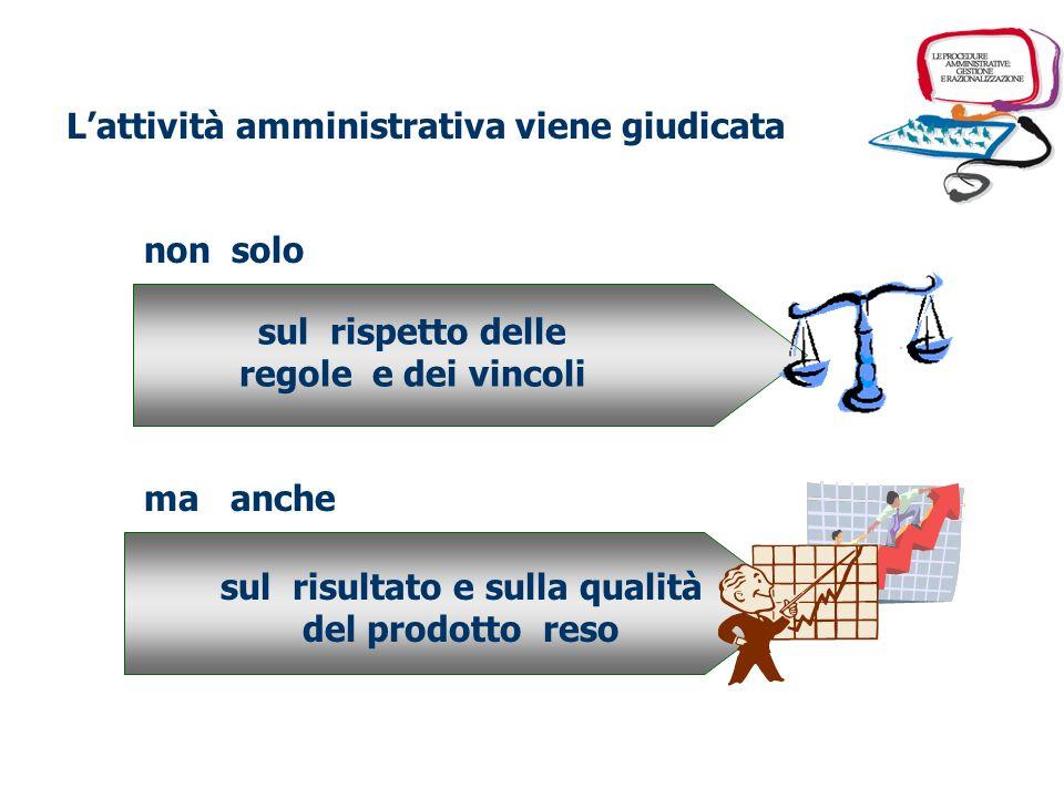Lattività amministrativa viene giudicata non solo sul rispetto delle regole e dei vincoli ma anche sul risultato e sulla qualità del prodotto reso