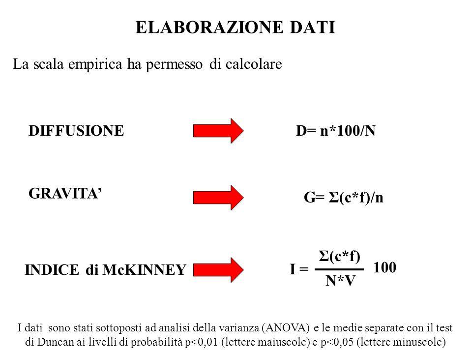 ELABORAZIONE DATI La scala empirica ha permesso di calcolare GRAVITA DIFFUSIONE INDICE di McKINNEY D= n*100/N G= Σ(c*f)/n N*V Σ(c*f) I = 100 I dati so