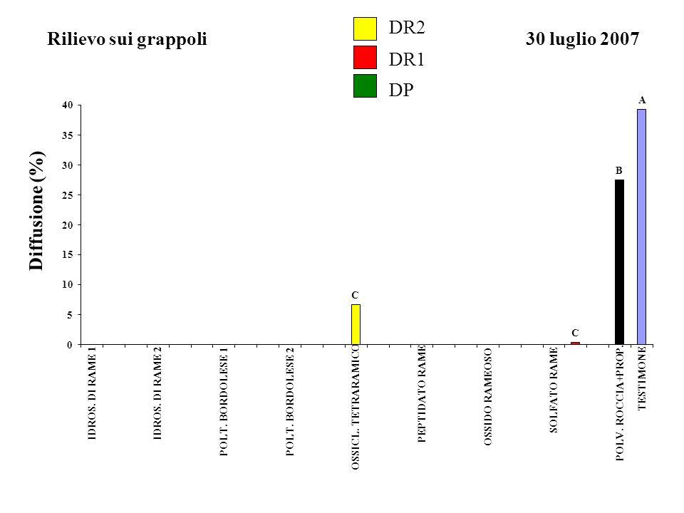 DR2 DR1 DP Rilievo sui grappoli30 luglio 2007 Diffusione (%) A B C C 0 5 10 15 20 25 30 35 40 IDROS. DI RAME 1IDROS. DI RAME 2 POLT. BORDOLESE 1 POLT.