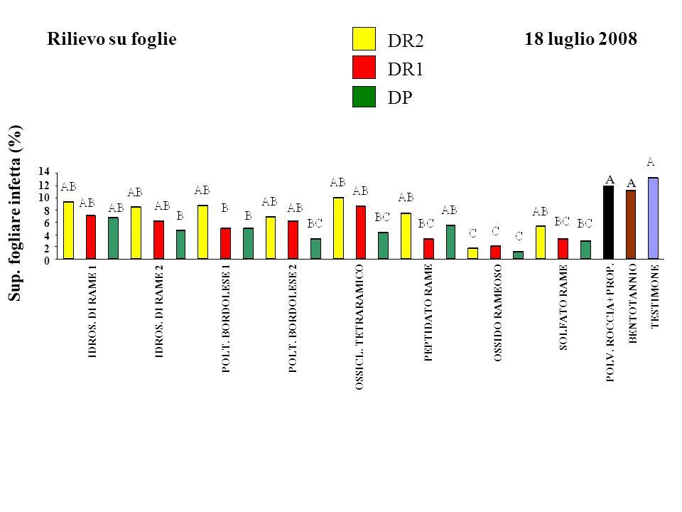 Sup. fogliare infetta (%) Rilievo su foglie18 luglio 2008 0 2 4 6 8 10 12 14 IDROS. DI RAME 1IDROS. DI RAME 2 POLT. BORDOLESE 1POLT. BORDOLESE 2 OSSID