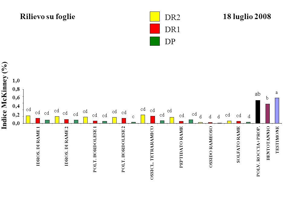 Indice McKinney (%) 0,0 0,2 0,4 0,6 0,8 1,0 Rilievo su foglie18 luglio 2008 IDROS. DI RAME 1IDROS. DI RAME 2 POLT. BORDOLESE 1POLT. BORDOLESE 2 OSSIDO