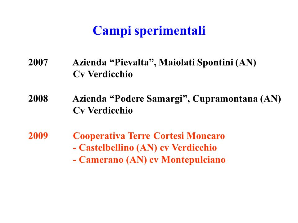 Campi sperimentali 2007 Azienda Pievalta, Maiolati Spontini (AN) Cv Verdicchio 2009 Cooperativa Terre Cortesi Moncaro - Castelbellino (AN) cv Verdicch