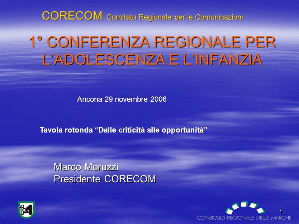 CORECOM Comitato Regionale per le Comunicazioni 2 Fonti di informazione: TV 90% quotidiani 54% radio 45%.