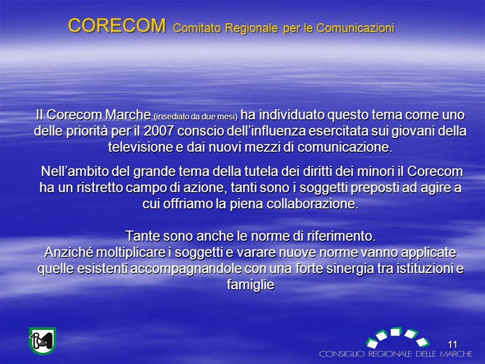 CORECOM Comitato Regionale per le Comunicazioni 11 Il Corecom Marche (insediato da due mesi) ha individuato questo tema come uno delle priorità per il 2007 conscio dellinfluenza esercitata sui giovani della televisione e dai nuovi mezzi di comunicazione.
