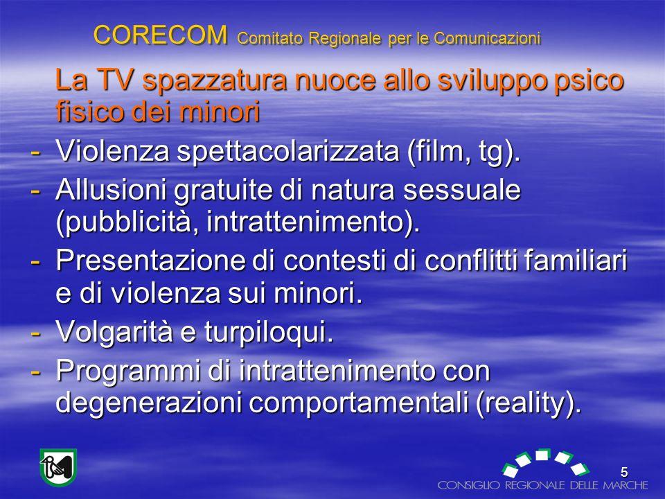 CORECOM Comitato Regionale per le Comunicazioni 5 La TV spazzatura nuoce allo sviluppo psico fisico dei minori La TV spazzatura nuoce allo sviluppo psico fisico dei minori -Violenza spettacolarizzata (film, tg).