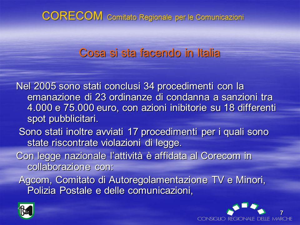 CORECOM Comitato Regionale per le Comunicazioni 7 Cosa si sta facendo in Italia Nel 2005 sono stati conclusi 34 procedimenti con la emanazione di 23 ordinanze di condanna a sanzioni tra 4.000 e 75.000 euro, con azioni inibitorie su 18 differenti spot pubblicitari.