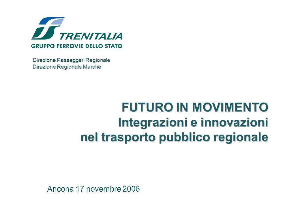 Ancona 17 novembre 2006 FUTURO IN MOVIMENTO Integrazioni e innovazioni nel trasporto pubblico regionale Direzione Passeggeri Regionale Direzione Regionale Marche