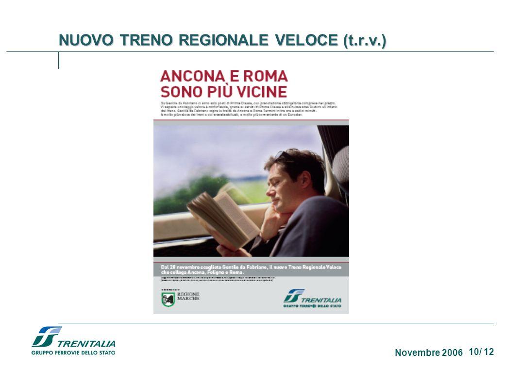 10/ 12 Novembre 2006 NUOVO TRENO REGIONALE VELOCE (t.r.v.)