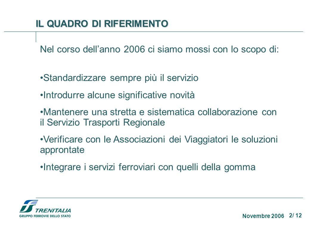 2/ 12 Novembre 2006 IL QUADRO DI RIFERIMENTO Nel corso dellanno 2006 ci siamo mossi con lo scopo di: Standardizzare sempre più il servizio Introdurre