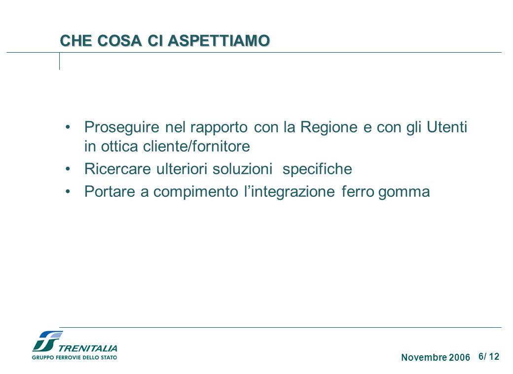 6/ 12 Novembre 2006 CHE COSA CI ASPETTIAMO Proseguire nel rapporto con la Regione e con gli Utenti in ottica cliente/fornitore Ricercare ulteriori sol
