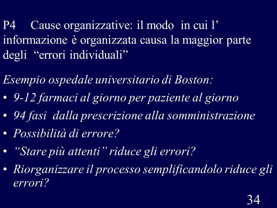 34 P4 Cause organizzative: il modo in cui l informazione è organizzata causa la maggior parte degli errori individuali Esempio ospedale universitario