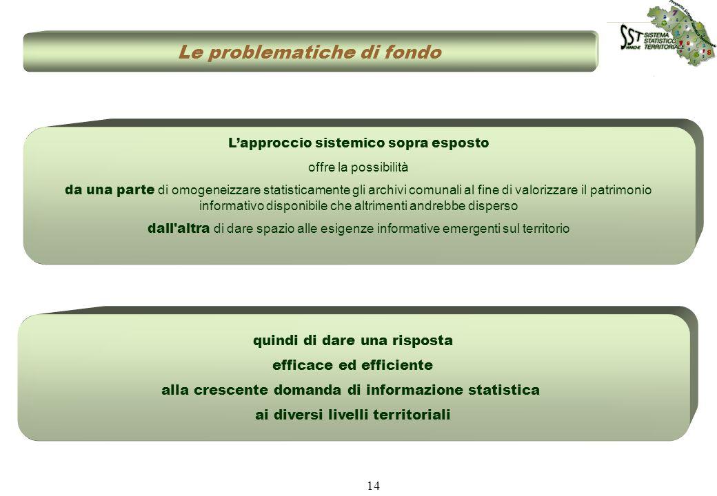 14 quindi di dare una risposta efficace ed efficiente alla crescente domanda di informazione statistica ai diversi livelli territoriali Le problematic