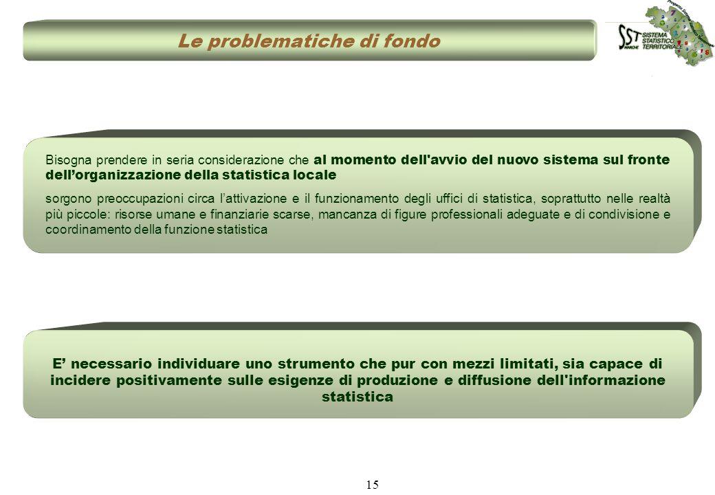 15 Le problematiche di fondo Bisogna prendere in seria considerazione che al momento dell'avvio del nuovo sistema sul fronte dellorganizzazione della